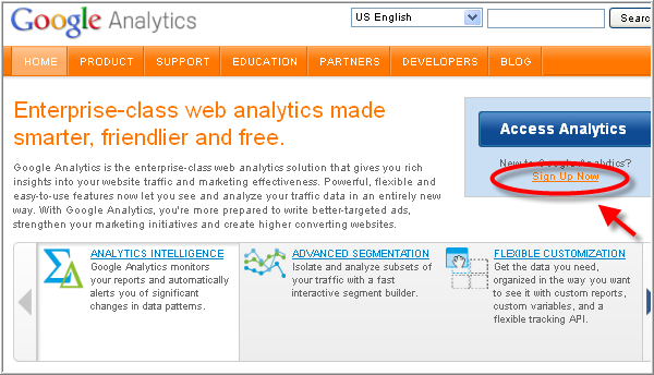 Create Google analytics account - Sign up page