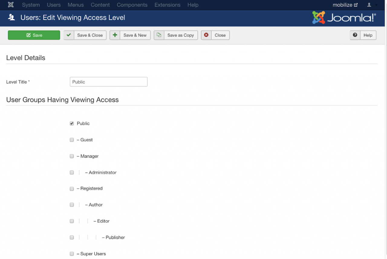 Users edit viewing access level