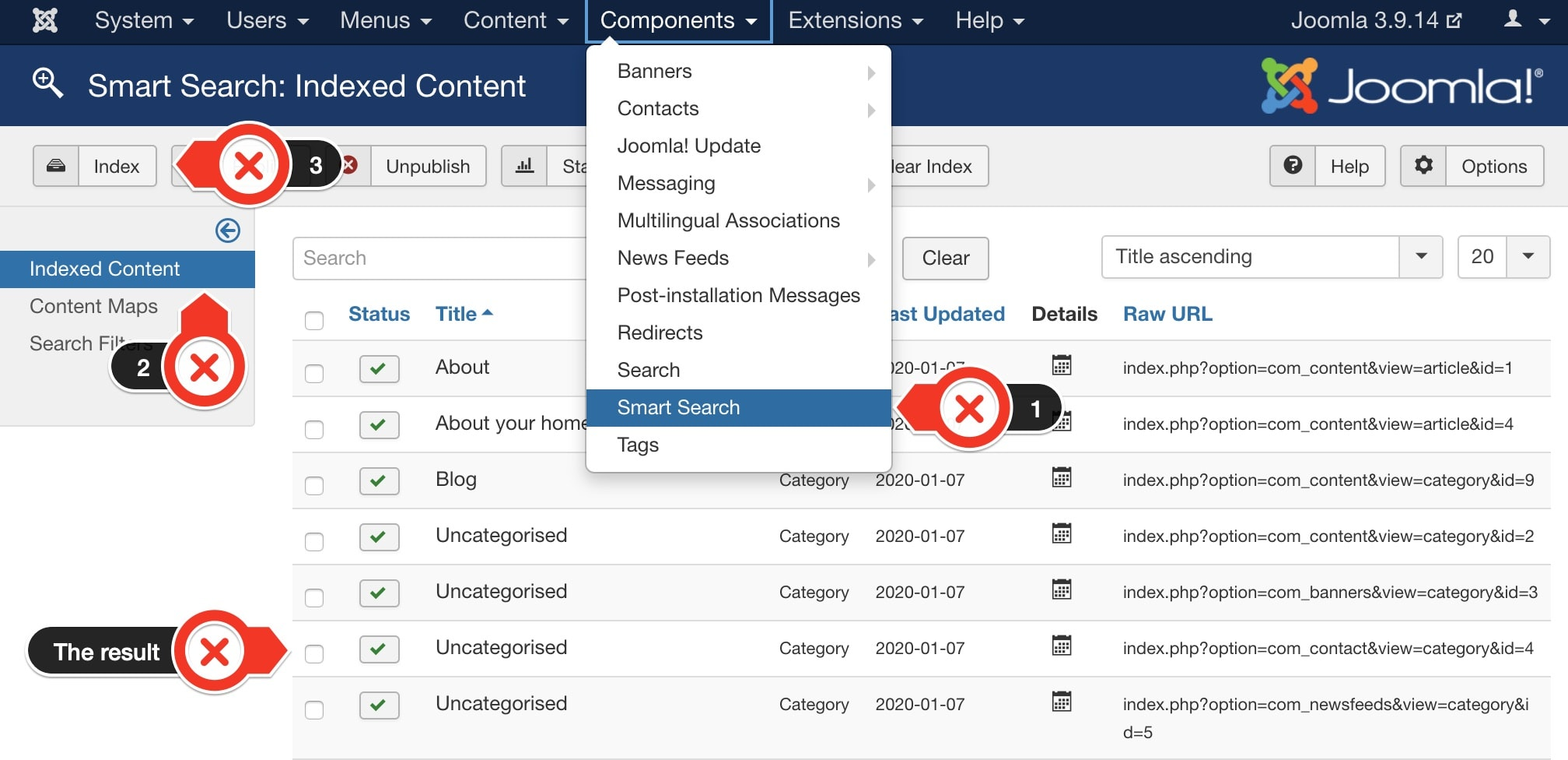 Indexed content for Joomla Smart Search